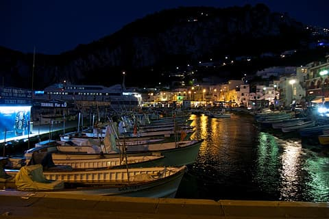 Night view from Marina Grande, Capri